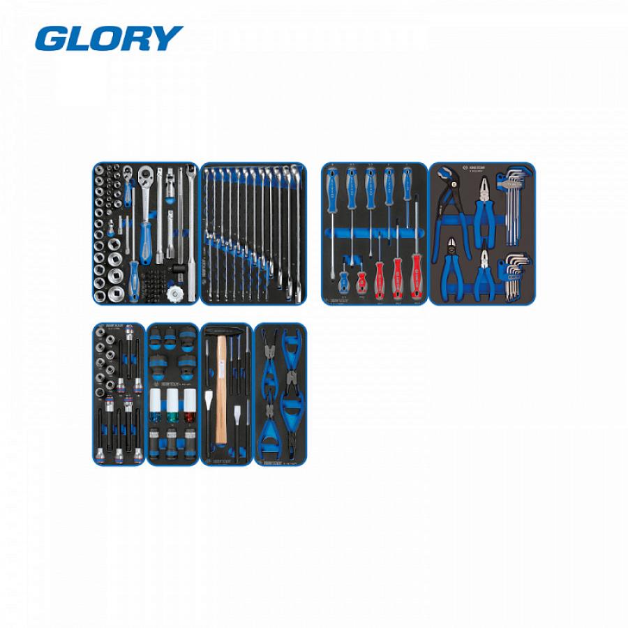"""Набор инструментов """"GLORY"""" в черной тележке, 152 предмета, в комплекте подкатной лежак KING TONY P9G35-152MRV"""
